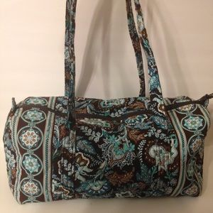 👛 VERA BRADLEY 👛 brown blue floral duffle bag